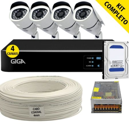 Kit Completo Ahd 4 Câmeras Bullet Dvr 4 Canais Giga e Todos Acessórios (DISCO RÍGIDO OPCIONAL)
