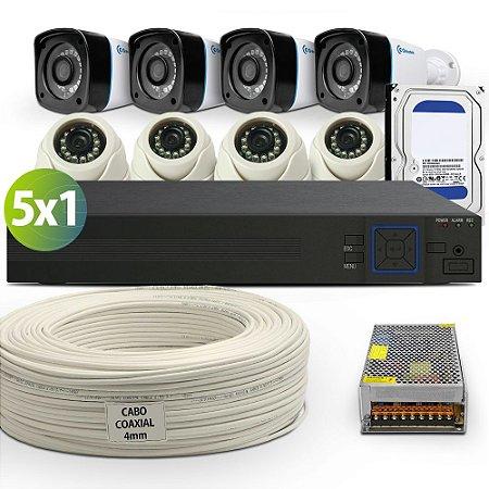 Kit Hdcvi Greatek Com 8 Câmeras e Acessórios Completo (DISCO RÍGIDO OPCIONAL)