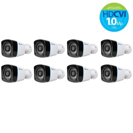 Kit Com 8 Câmeras Hdcvi Alta Definição Greatek 20 Metros 720p Externa