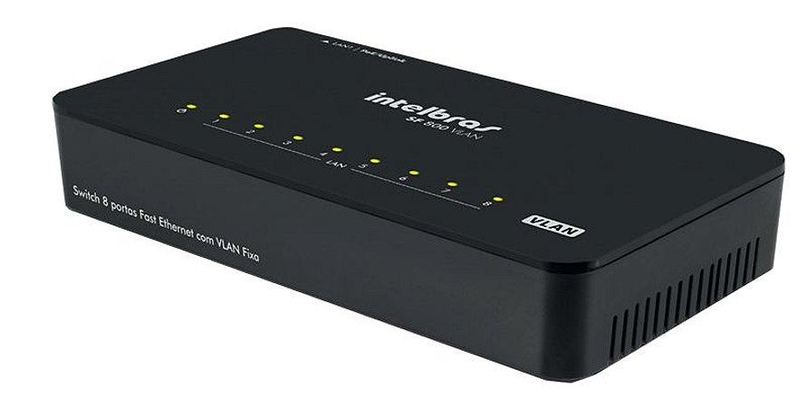 Switch Intelbras 8 Portas Fast Ethernet com VLAN Fixa 10/100 Mbps