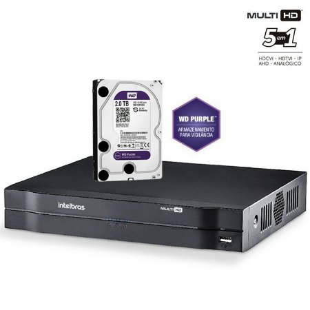 Dvr HDCVI Intelbras Multi HD 08 Canais Mhdx 1008 Com HD 2 Terabyte Purple