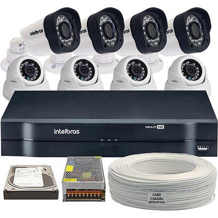 Kit Completo Intelbras Analógico e AHD 8 Câmeras e Acessórios (DISCO RÍGIDO OPCIONAL)