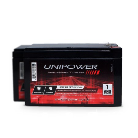 Bateria Selada Unipower 12v 7A UP1270SEG Alarme Cerca Nobreak