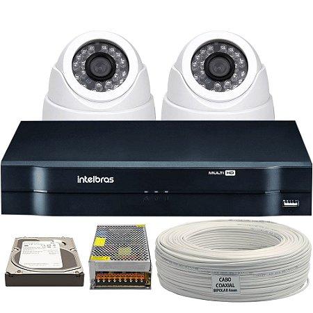 Kit CFTV Completo Analógico 2 Câmeras Dome e Acessórios (DISCO RÍGIDO OPCIONAL)