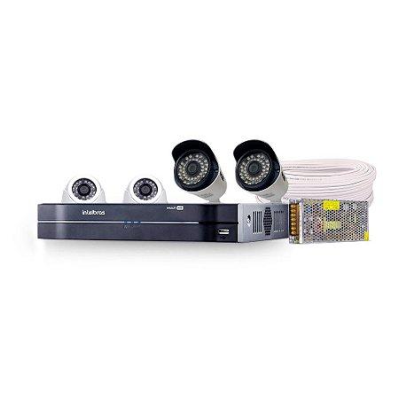 Kit Cftv Hdcvi Completo Com 100 Metros Cabo e Acessórios (Quantidade de Câmeras a Escolher)