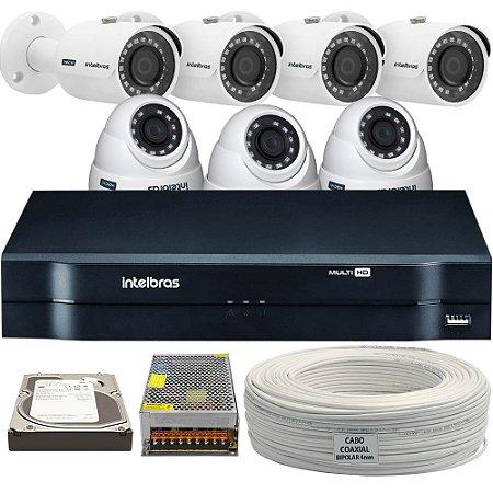 Kit Completo Intelbras Mult Hd Com 7 Câmeras e Acessórios  (DISCO RÍGIDO OPCIONAL)