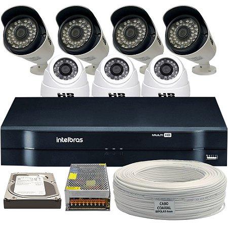 Kit CFTV Completo HDCVI 7 Câmeras e Acessórios (DISCO RÍGIDO OPCIONAL)