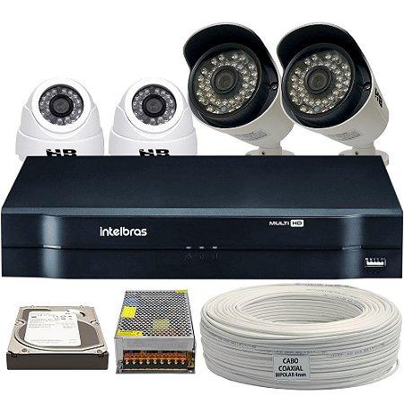 Kit CFTV Completo HDCVI 8 Ch 4 Câmeras e Acessórios (DISCO RÍGIDO OPCIONAL)