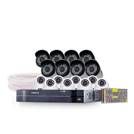 Kit CFTV Completo HDCVI 16 Câmeras e Acessórios (DISCO RÍGIDO OPCIONAL)