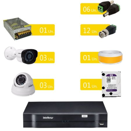 Kit Cftv Intelbras 06 Câmeras HD 720p G4 + Dvr Multi HD + Acessórios