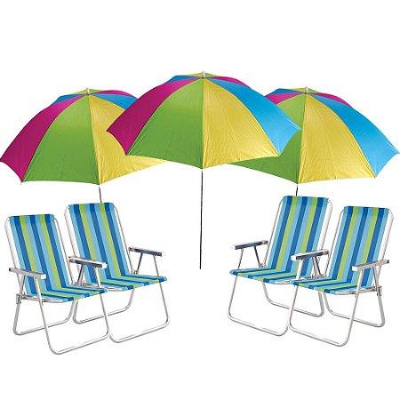 Kit Verão - 3x Guarda Sol + 4 Cadeira De Praia Mor