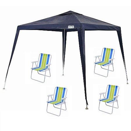 Kit Verão - Tenda Gazebo 2,4x3 + 4 Cadeiras De Praia Mor