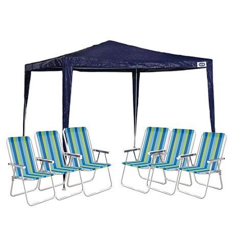 Kit Verão - Tenda Gazebo 2,4x3 + 6 Cadeiras De Praia Mor