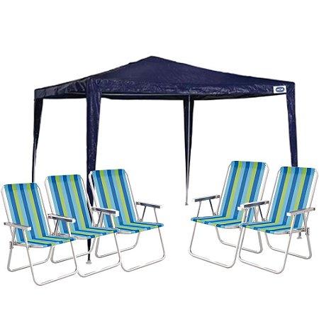 Kit Verão - Tenda Gazebo 3x3 + 5 Cadeiras De Praia Mor