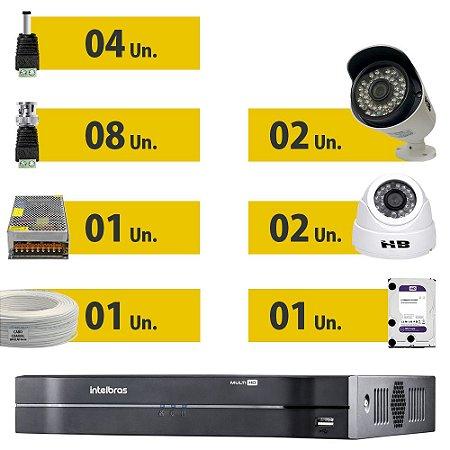 Kit CFTV Completo HDCVI 4 Câmeras e Acessórios  (HD Purple 1 Tera)