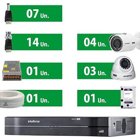 Kit Cftv Intelbras Mult Hd Com 7 Câmeras + HD Purple 1 Tera + Acessórios