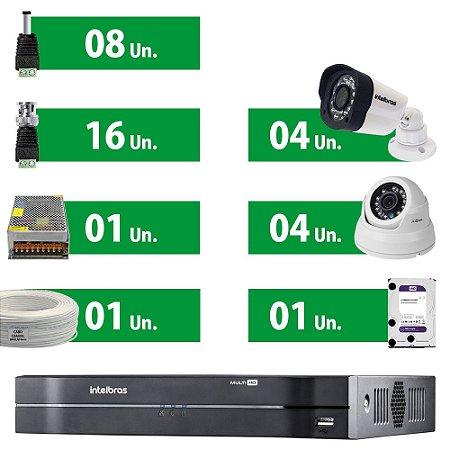 Kit Cftv Intelbras Ahd 8 Câmeras + HD Purple 1 Tera + Acessórios