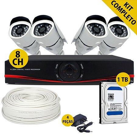 Kit Ahd Completo Dvr 8 Canais Com Hd de 1Tb 4 Câmeras 1.3 Megapixel e Acessórios