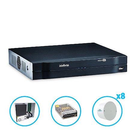 Kit Dvr Intelbras Mhdx 1008 + Rack + Fonte e Organizador