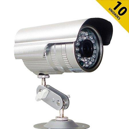 Kit 10 Câmeras Infravermelho 700 linhas 36 Leds Lente 3,6mm