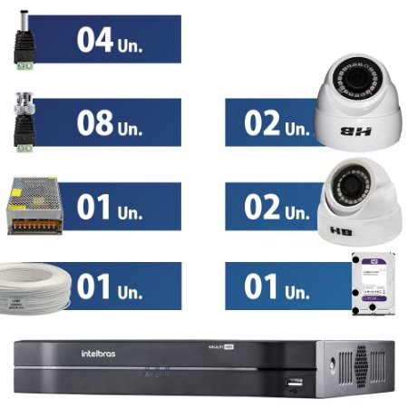 KIT CFTV 4 Câmeras HD HB Tech + DVR Intelbras com Hd 1 Tera Purple + Acessórios