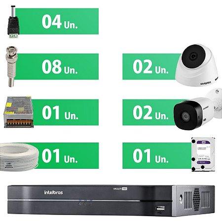 KIT CFTV Completo Intelbras 4 câmeras HD