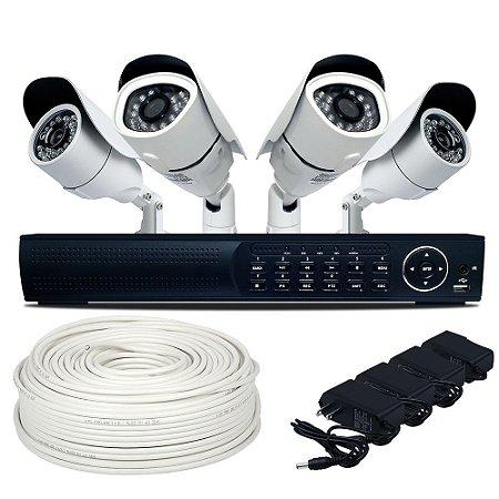 Kit Cftv Dvr Ahd 2 Câmeras de 1.3 Mp 2 Câmeras 800 Linhas e Acessórios Grátis