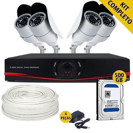 Kit Cftv Ahd Completo Com 4 Câmeras 1.3 Megapixel Dvr Com Hd de 500gb e Acessórios