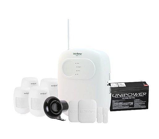 Kit Alarme Sem Fio Intelbras Com 4 Sensores de Movimento  2 Sensores de Portas e Janela, Sirene e Bateria