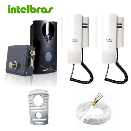 Kit Interfone Intelbras Com Proteção 2 Monofones Internos Fechadura e Cabeamento