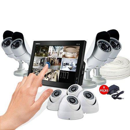 KIT Cftv Dvr Intelbras Touch 8 Câmeras 20 Metros e Acessórios Grátis