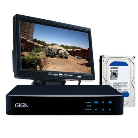 Kit Dvr 4 Canais Giga Com Tela 7 Polegadas e Hd 500Gb