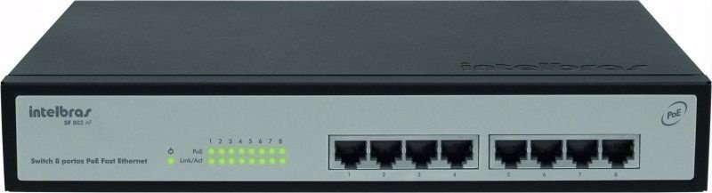 Switch 8 Portas Intelbras Sf 802 Af - PoE Fast Ethernet