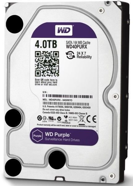 HD Interno WD Purple 4TB SATA III 5400 RPM WD40PURZ 6GB/s