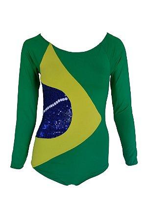 Body Manga Longa Kymacta Surf Brasil Verde