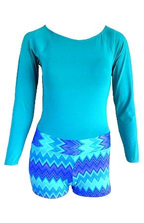 Maiô Kymacta Surf Short Estampado Azul