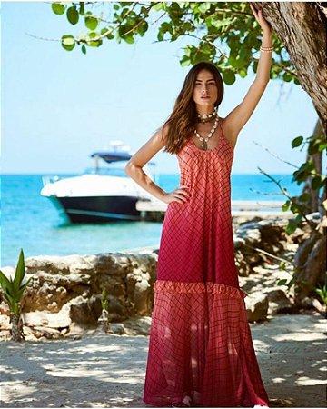 Vestido Degradê Coral Longo