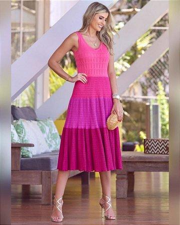 Vestido Tricot Midi Pink P Luzia Fazzolli