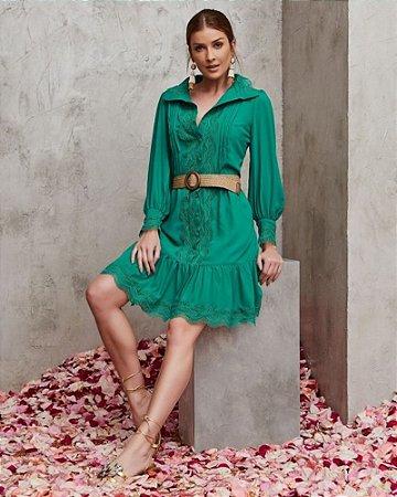 Vestido Verde Crepe  Curto Luzia Fazzolli