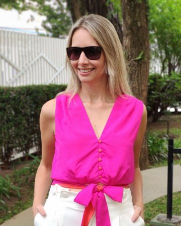 Cropped Amarração  Decote V Pink com Laranja Lore