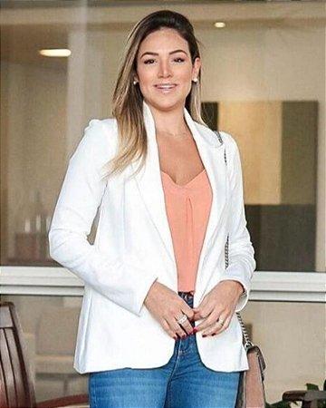 Blazer Feminino Ponta Roma Gola Tailleur Offwhite