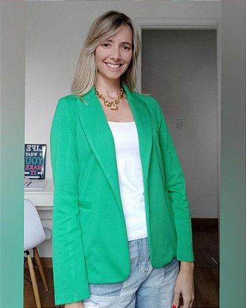 Blazer Feminino Ponta Roma Gola Tailleur Verde Bandeira