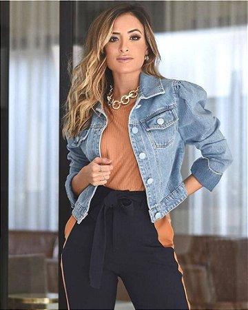 Jaqueta Jeans Manga Bufante