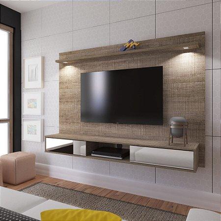 Painel Tv Até 47 Polegadas 2 Gavetas com espelho e LED Platinum - Artely