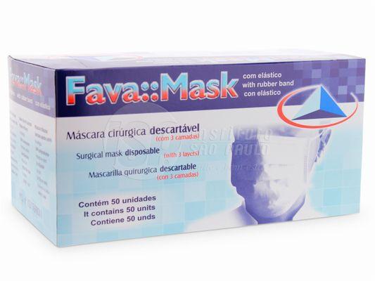 Máscara cirúrgica com elástico , COR AZUL, marca Fava
