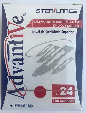 Lamina de Bisturi Nº 24  INOX - Advantive - Caixa com 100 unidades