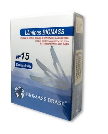 Lâmina de bisturi N15 , marca Biomass , caixa com 100 peças