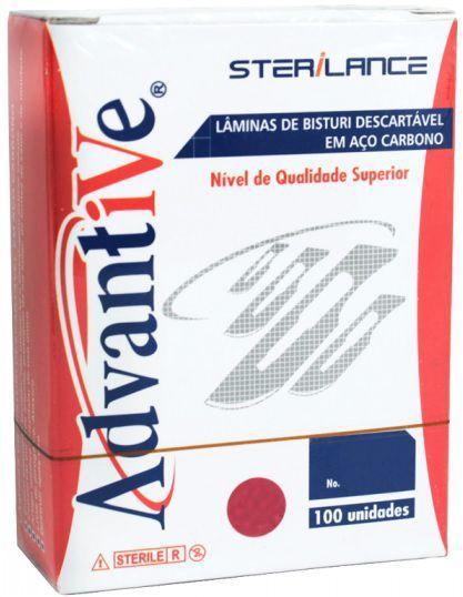 Lâmina de bisturi N15 , marca Advantive , caixa com 100 peças.