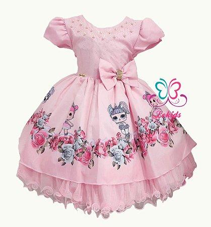 b129a492f6b Vestido Luxo festa infantil tema bonecas LOL Surprise - Lekids