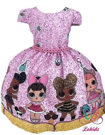 380a72f1b46 Vestido Boneca Lol Surprise Luxo Infantil Frete - Lekids